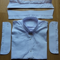 Backless Shirt-Shirty-white-detachable collar 176cm/44cm