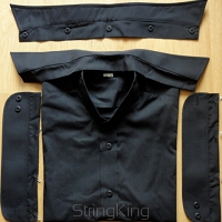 Backless Shirt-Shirty-black-detachable collar 188cm/44cm
